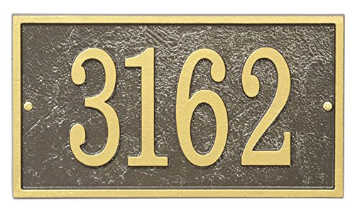 Address Sign - Custom Personalized Aluminum Address Plaque Made in USA - Displays Up to 5 House Numbers - Bronze, Black or Green with Gold Numbers and Black with Silver Numbers ()
