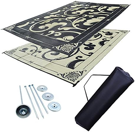 Professional EZ Travel Collection Reversible RV Outdoor Rug for Backyards, Beaches, Camping Grounds, Patios, and More, Storage Bag and Mat Stakes Included, Black Beige 9×18