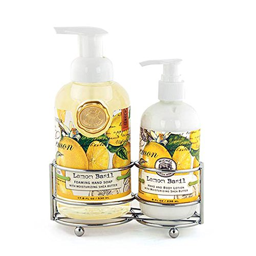 Michel Design Works Foaming Hand Soap and Lotion Caddy Gift Set, Lemon Basil - Lotion Caddy Set