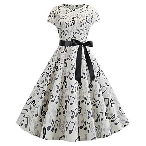 - Sunhusing Women Retro Style Short-Sleeve Round Neck Musical Notes Printed Belt Strappy Large Swing Prom Dress White