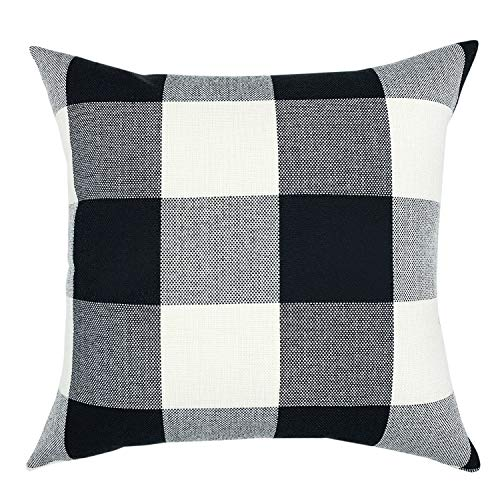 - YOUR SMILE Retro Farmhouse Buffalo Tartan Checkers Plaid Cotton Linen Decorative Throw Pillow Case Cushion Cover Pillowcase for Sofa 20 x 20 Inch,Black/White