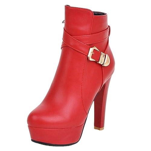 RAZAMAZA Mujer Moda Tacón Alto Botines Punta Redonda Cremallera Vestido Botas Plataforma Otoño Zapatos Hebilla Red Size 45 Asian: Amazon.es: Zapatos y ...