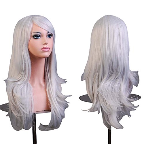 Wigs Halloween Comb (AneShe Wigs 28 Inch Long Wavy Hair Cosplay Wig for Women With Free Wig Cap and Comb (Silver)