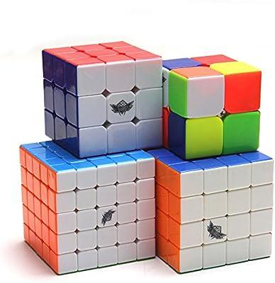 HJXDtech- Ciclón niño 4 pack cubo mágico conjunto de 2x2 3x3 4x4 5x5 Cubos de rompecabezas ABS No Etiquetas Racing cube: Amazon.es: Juguetes y juegos