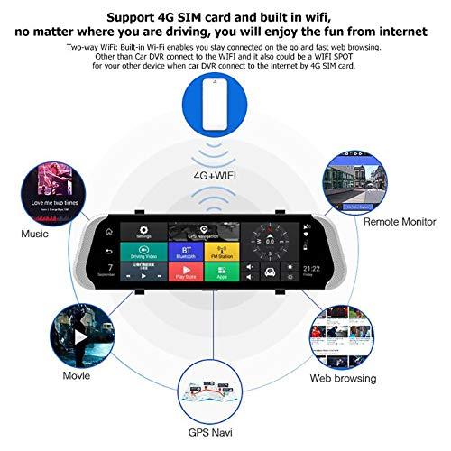 SODIAL 10 Pulgadas 4G Espejo Retrovisor del Coche Dvr C/ámara Lente Doble Android 5.1 Grabadora de Conducci/ón App Adas Advertencia Doble Lente G-Sensor Dvr