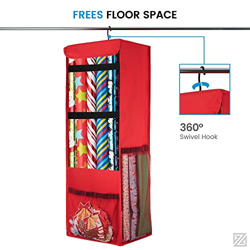 Zober Premium 600D Oxford Hanging Gift Wrap Storage Fits up to 25 Rolls, Spinning Closet Wrapping Paper Organizer, 360 Degree Hook, With all Sides Mesh Pockets & Strap Loops, for Wrapping Accessories