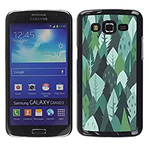 FECELL CITY // Duro Aluminio Pegatina PC Caso decorativo Funda Carcasa de Protección para Samsung Galaxy Grand 2 SM-G7102 SM-G7105 // Trees Forest Nature Green Drawing Summer