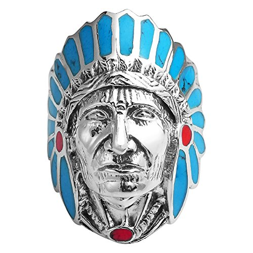 AeraVida Simulated Turquoise & Rconstructed Red Coral Accented Native American Style .925 Sterling Silver Ring (13)