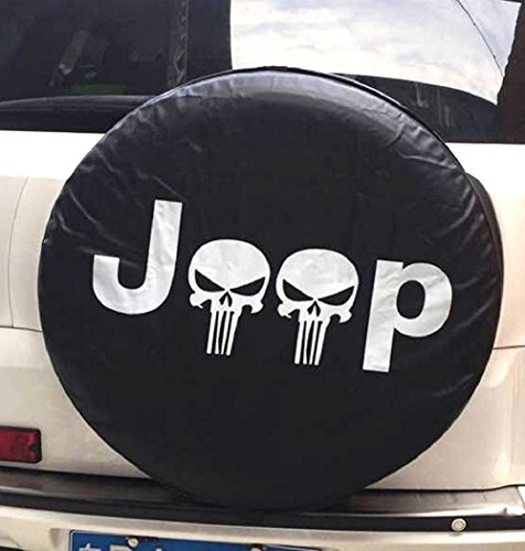 Santu Small Skull Spare Wheel Tire Cover Fit Jeep Wrangler,Liberty Classic Grill R17 by Santu (Image #1)