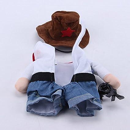Cutogain V/êtements Animal domestique Chien Cosplay Costume de cowboy Funny avec chapeau Puppy Jean Manteau Robe de f/ête