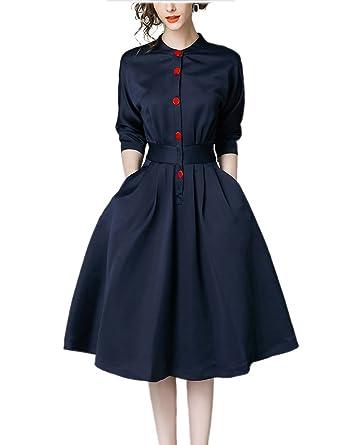 6ad406f1be91d 痩せて見える 女性ワイシャツ ワンピース秋服 秋物ドレス 長袖 ミディアム丈 膝丈 日常