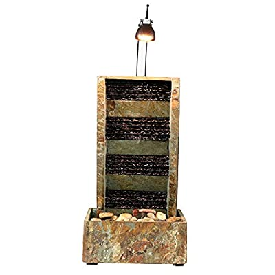 Sunnydaze Tranquility Slate Multi-Tier Tabletop Water Fountain with LED Light, 24 Inch