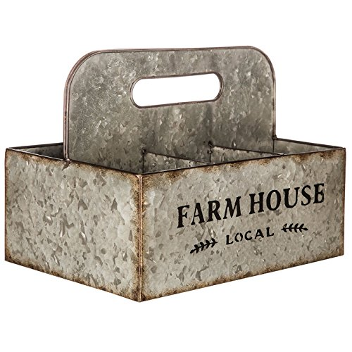 Farmhouse Galvanized Metal Basket with Compartments
