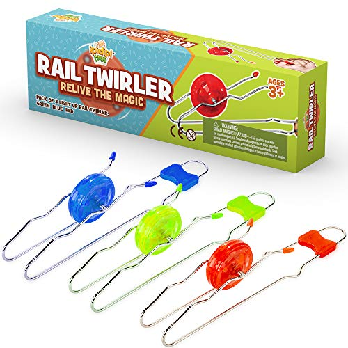 Retro Magic Rail Twirler – 3 Pack – Light Up Magnetic Stocking Stuffers For Kids – Sensory Toy With Spinning Wheel and…