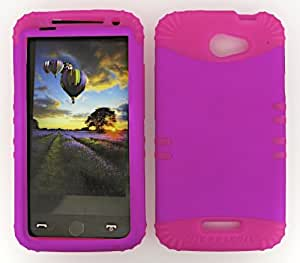 SHOCKPROOF HYBRID CELL PHONE COVER PROTECTOR FACEPLATE HARD CASE AND HOT PINK SKIN WITH STYLUS PEN. KOOL KASE ROCKER FOR HTC ONE X S720E NEON HOT PINK MA-A006-EA