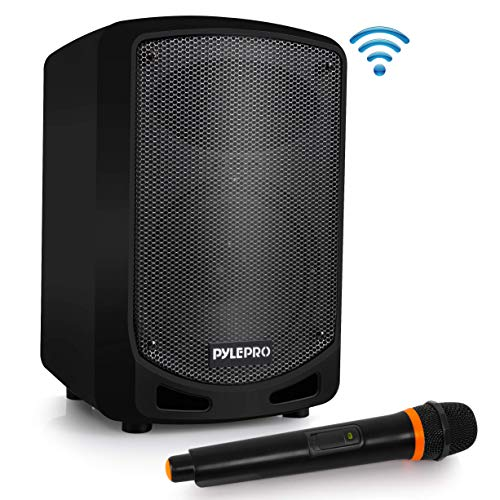 Pyle Bluetooth Karaoke PA Speaker – Indoor / Outdoor Portable Sound System with Wireless Mic, Audio Recording, Rechargeable Battery, USB / SD Reader, Stand Mount – for Party- PSBT65A (Renewed)