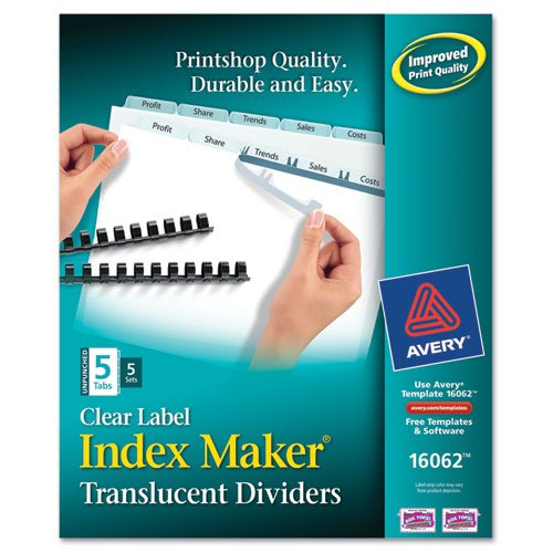 Avery - Index Maker Unpunched Clear Label Dividers, 5-Tab, Letter, 5 Sets/Pack - Sold As 1 Pack - Label divider tabs all at once using Easy Apply label (Avery Dennison Index Maker Copier)