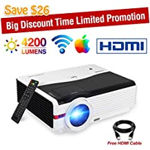 """Video Projector WiFi Wireless Max 200"""", 4200 Luminous Efficiency LED LCD Dispaly, Support Full HD 1080p 720p HDMI USB, Home Cinema Theater Multimedia Smart Projector with Remote Built-in 10W Speaker"""