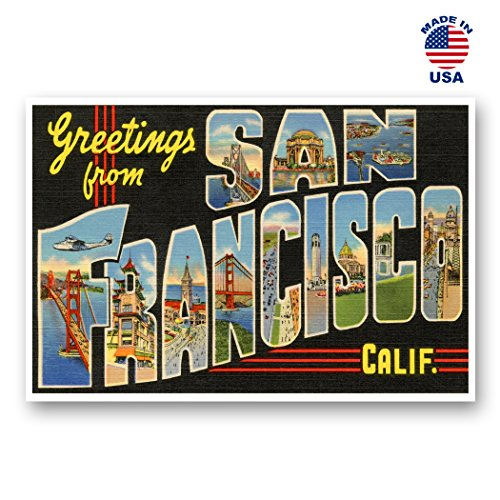 GREETINGS FROM SAN FRANCISCO vintage reprint postcard set of 20 identical postcards. Large letter San Francisco, California city and state name post card pack (ca. 1930's-1940's). Made in - Fair Francisco California Art San