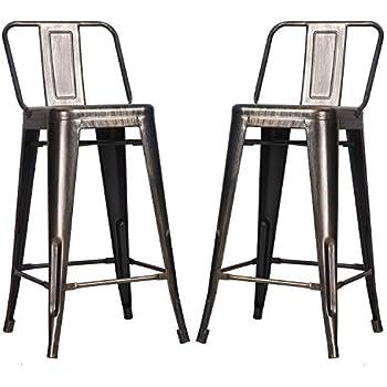 outdoor metal chair. Merax Low Back Indoor And Outdoor Metal Chair Barstool Set Of 2 (Golden Black)