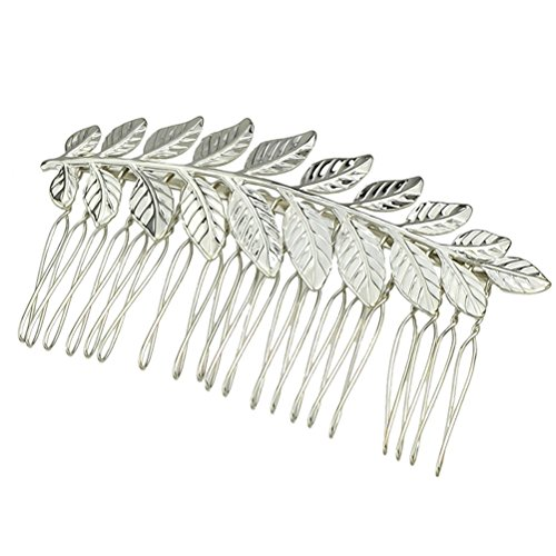 Frcolor Barrette peigne à fleurs Peigne chic Cheveux Accessoires à cheveux Vintage Feuilles Peigne à cheveux (Argent)