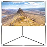 Safstar Outdoor Indoor Portable Projector Screen w/Triangle Stand, 80 inch 16:9 Home Cinema Movie Screen 70'' x 39'' Viewing Area with Carry Bag