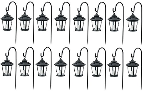 Four Seasons TV29960BK Black, Solar Candle Pathway Lantern Lights - Quantity 16 by Four Seasons Courtyard