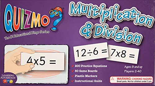 Learning Advantage QUIZMO Multiplication & Division - 40 Double-Sided Game Boards - Bingo-Style Math Game for Kids - Teach Multiplication and Division Through ()