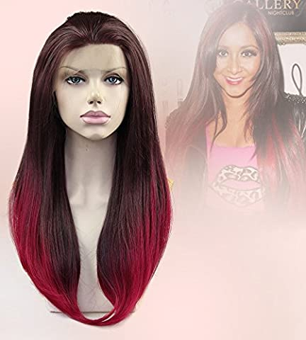 Cbwigs Ombre Burgundy Long Straight Synthetic Lace Front Wigs for Women Wine Red Heat Resistant Wig 18 (Status Of A Returned Item)