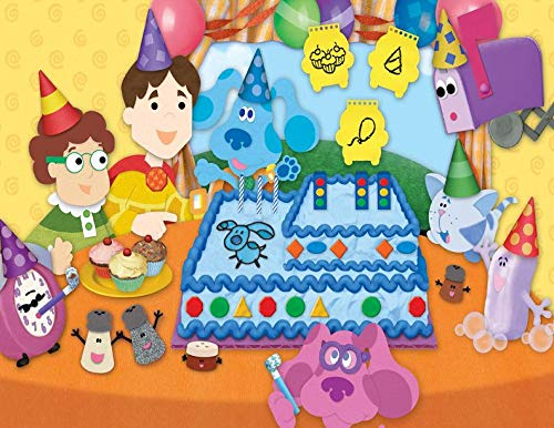 (Blues Clues Happy Birthday Party Blue Steve Magenta Mailbox Joe Tickety Toc Cake Cupcakes Party Hats Balloons Edible Cake Topper Image ABPID01188 - 1/2 sheet)