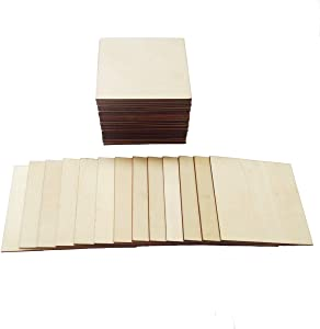 Unfinished Blank Square Wood Pieces,50 Pack 5x5 Inch Large Laser Wooden Squares,Plywood Craft Scrabble Letters,Scrabble Wall Tiles for Crafts Cutouts Coasters,Wall Decor,School Projects,Pyrography.
