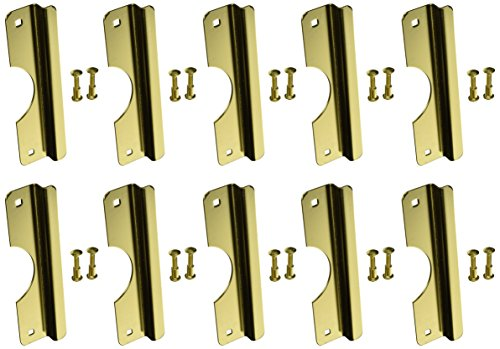 Don-Jo OSLP-210-EBF 12 Gauge Steel Short Type Latch Protector with Fasteners, Brass Plated, 2-5/8'' Width x 10'' Height, For Outswinging Doors (Pack of 10) by Don-Jo