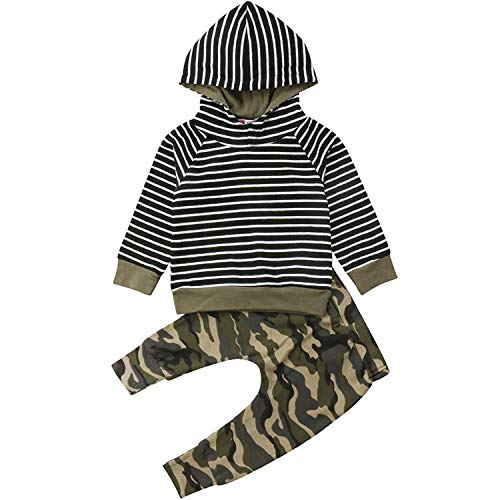 1210becdc BELS Baby Boys Clothes Hooded Striped Sweater with Camouflage Camo Outfits  Set (Camo, 70/9-12M)