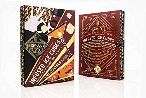 """Herb & Lou's Infused Ice Cubes - """"The Cooper"""" - Ready-Made Cocktail Mixer - Blood Orange Ginger Old Fashioned -"""