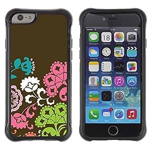 Suave TPU Caso Carcasa de Caucho Funda para Apple Iphone 6 PLUS 5.5 / Flowers Pattern Brown Pink Green / STRONG