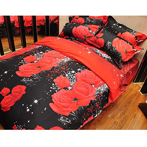 (Hot Sale!DEESEE(TM)Duvet Set 3D Oil Painting Bed 3pcs Bedding Kit Duvet Cover Queen Color Red (A))