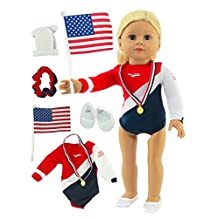"18 Inch Doll Clothes - Super Fun Gymnastic Set for 18"" Dolls Fits 18"" American Girl Dolls, Madame Alexander, Our Generation, etc. Great Quality - Beautiful Fabrics *DOLL NOT INCLUDED*"