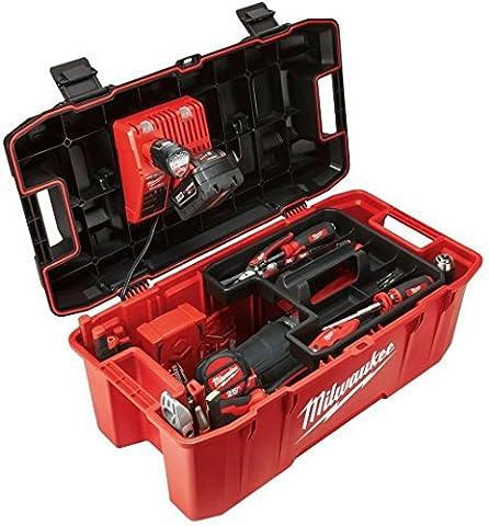 Milwaukee HUGE Tool Storage Box Hi-Impact Lockable Lid Jobsite Work Power Tools Chest Organizer Portable Garage Toolbox 26 - Milwaukee Power Tools