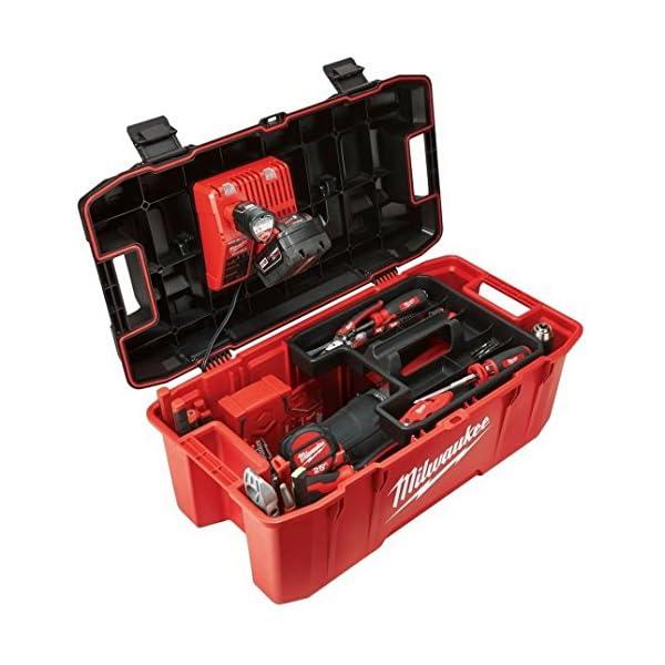 Milwaukee HUGE Tool Storage Box Hi-Impact Lockable Lid Jobsite Work Power Tools Chest Organizer Portable Garage Toolbox 26 in.