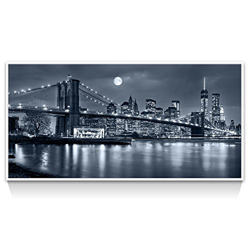 Large Brooklyn Bridge Canvas Print,Moon Night New York City Picture Print on Canvas,White Floater Frame Cityscape Canvas Wall Art,Modern Home and Office Decoration,-24''x48'' by Live Art Decor