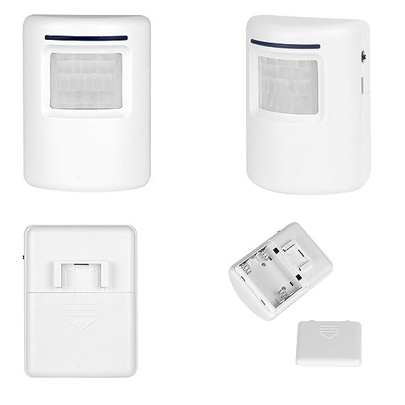 Blanco Inalámbrico Alarma de Calzada de Seguridad Casera con 1 Receptor Enchufable y 1 Sistema de Alerta de Detector de Movimiento PIR 36 melodías para ...