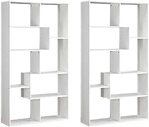 Mainstays Home 8-Shelf Bookcase White, Set of 2