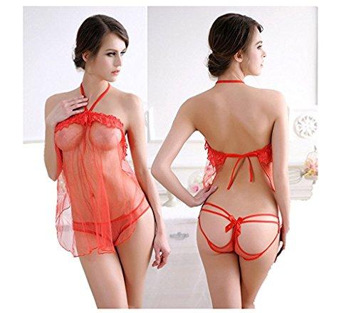 Sexy Dress Lingerie Transparent Sleepwear Underwear Lace Lingerie,Red