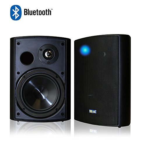 Bluetooth 6.50'' Indoor/Outdoor Weatherproof Patio Speakers, Wireless Outdoor Speakers (Black- pair),by Sound Appeal by Sound Appeal
