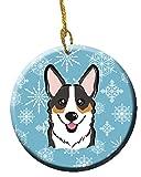 Caroline's Treasures BB1689CO1 Snowflake Tricolor Corgi Ceramic Ornament, Multicolor