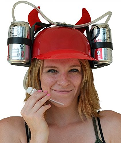 MareLight Beer and Soda Coke Cool Helmet Drinking Cap Drinking Hat with Straws Can Holder Drink Novelty Night Party Game Toy World Cup Gift Fun Party Hat (Cocacola Can Costume)