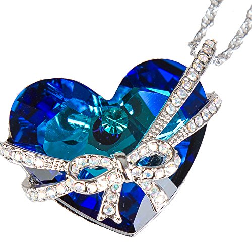 FREEBIZ Heart of The Ocean Bowtie Pendant Necklace Made with Swarovski Crystal