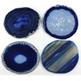 Natural Sliced Agate Coaster with Rubber Bumper Set of 4 (Q.1 Blue, 3-3.5