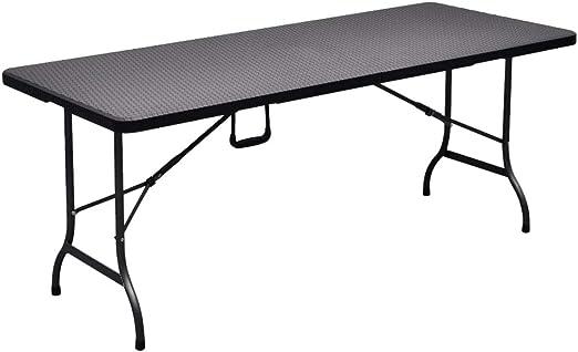 Mesa plegable negra para el jardín hecha de plástico HDPE, color ...