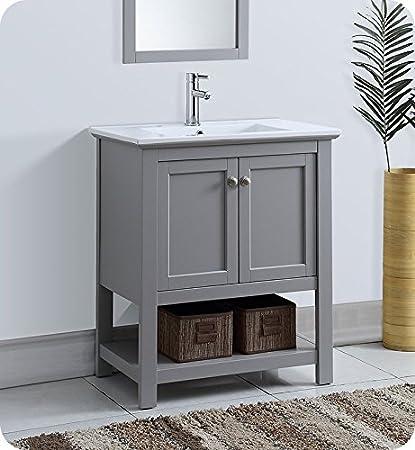 Fresca Manchester 30u0026quot; Gray Traditional Bathroom Vanity